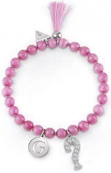 Guess Růžový korálkový náramek se střapcem UBB85032-S