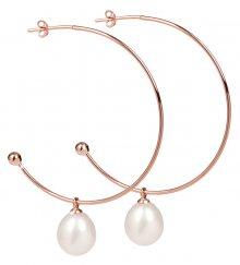 JwL Luxury Pearls Bronzové půlkruhové náušnice 2v1 s pravými perlami JL0297