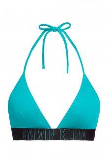 Calvin Klein petrolejový horní díl plavek Fixed Triangle-RP Treasure Green s logem - XS
