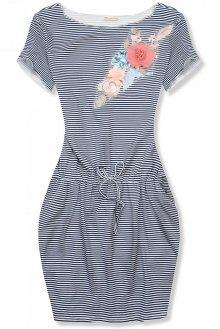 Modro-bílé pruhované šaty s aplikací IV.