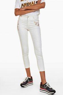 Desigual smetanové/krémové kalhoty Pant Goldlurex - 34