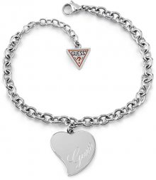 Guess Stylový náramek s velkým srdcem UBB28094-S