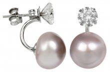 JwL Luxury Pearls Stříbrné dvojnáušnice s pravou růžovou perlou a krystalem JL0215