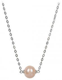 JwL Luxury Pearls Stříbrný náhrdelník s lososovou perlou JL0245