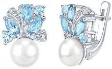 Silvego Stříbrné náušnice MARIANNE s přírodní perlou a pravým topazem FNJE0434tb