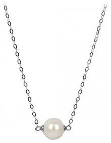 JwL Luxury Pearls Stříbrný náhrdelník s pravou bílou perlou JL0243
