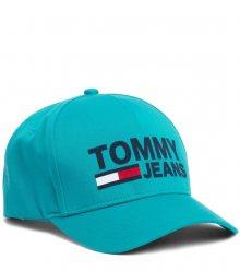 Tommy Hilfiger tyrkysová unisex kšiltovka TJM Flock Cap Dynasty Green s logem