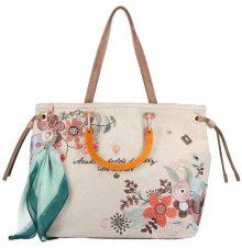 Anekke béžová kabelka Jane s výšivkou a dřevěnými držadly