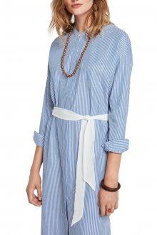 Scotch & Soda modré pruhované košilové šaty s páskem - XS