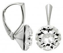 Troli Stříbrné náušnice Dentelle 13 mm Crystal