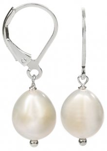 JwL Luxury Pearls Stříbrné náušnice s pravou bílou perlou JL0148