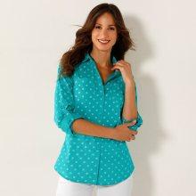 Blancheporte Dvoubarevná košile s potiskem a dlouhými rukávy dvoubarevná mátová 38