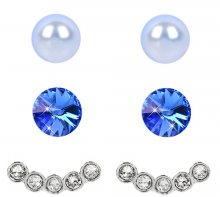 Levien Náušnice Set Ear Cuff 4 v 1 Sapphire Light Blue 027
