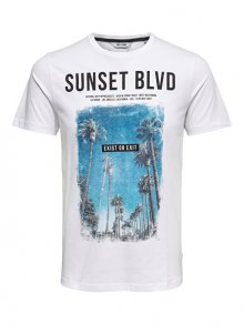 ONLY&SONS Pánské triko Lamani Camp SS Fitted Tee White S