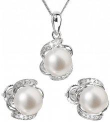 Evolution Group Luxusní stříbrná souprava s pravými perlami Pavona 29017.1