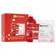 Garnier Reparing Care regenerační tělové mléko pro suchou pokožku 400 ml + Reparing Care regenerační krém na ruce 100 ml + Moisture + Comfort textilní pleťová maska 32 g dárková sada