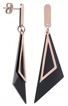 Troli Výrazné černobronzové trojúhelníkové náušnice