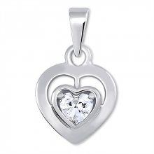 Brilio Silver Stříbrný přívěsek Srdce s krystalem 446 001 00388 04 - 1,36 g