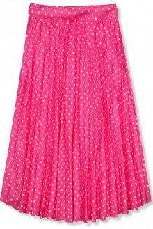 Neónově růžová skládaná midi sukně