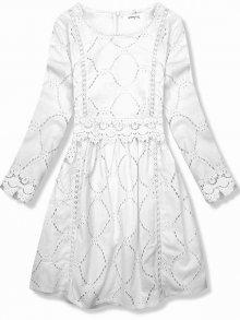 Bílé šaty s krajkou a výšivkou
