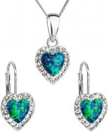 Evolution Group Srdíčková souprava šperků 39161.1 & green s.opal (náušnice, řetízek, přívěsek)