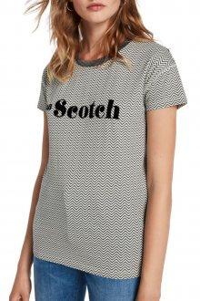 Scotch & Soda dámské tričko s proužkem a třpytivým límcem - XS