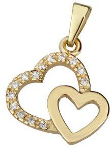 Brilio Zlatý přívěsek Dvě srdce 249 001 00490 - 0,80 g