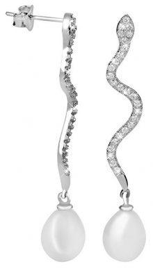 JwL Luxury Pearls Dlouhé stříbrné náušnice Had s perlou a zirkony JL0396