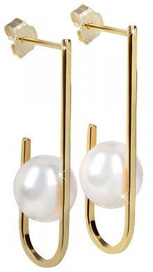 JwL Luxury Pearls Pozlacené náušnice s pravou bílou perlou JL0350