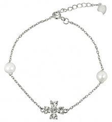 JwL Luxury Pearls Stříbrný náramek s pravými perlami a krystaly JL0314