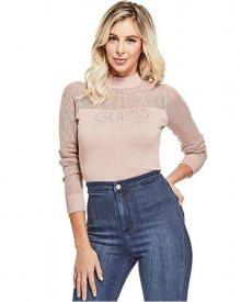 Guess Dámský svetr Factory Women`s Pamelyn Netted Logo Sweater Pink S