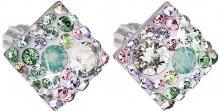 Evolution Group Něžné čtvercové náušnice s krystaly Sakura 31169.3