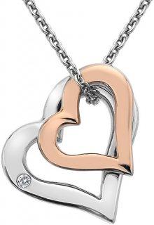 Hot Diamonds Stříbrný náhrdelník s diamantem Glide Double Heart Rose DP623 (řetízek, přívěsek)