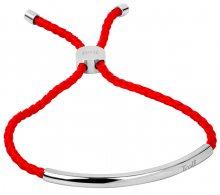 Troli Červený šňůrkový náramek s ocelovou ozdobou