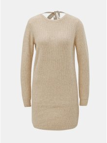 Hnědé svetrové šaty s výstřihem na zádech VERO MODA Doffy