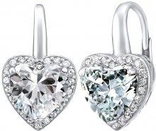 Silvego Stříbrné náušnice srdce se zirkony LPS0629EW