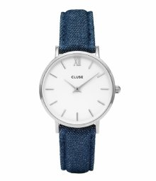 Cluse Minuit Silver White/Blue Denim CL30030