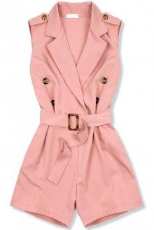 Růžový elegantní overal s páskem