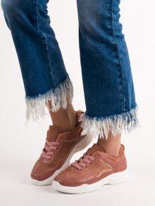 Originální  tenisky dámské růžové bez podpatku