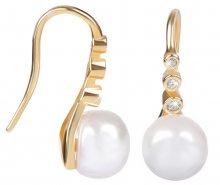 JwL Luxury Pearls Zlacené stříbrné visací náušnice s pravou perlou JL0411