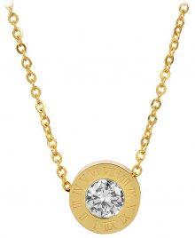Troli Pozlacený ocelový náhrdelník s třpytivým přívěskem