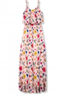 Pudrové maxi květinové barevné šaty