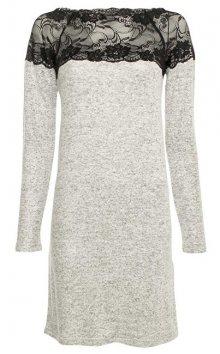 Vero Moda Dámské šaty Cima Lace Ls Dress Light Grey Melange W.Black Lace XS