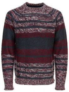 ONLY&SONS Pánský svetr Callen 3 Mel Striped Knit Reg Blue Nights S