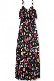 Černé maxi květinové barevné šaty