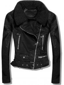 Černá koženková bunda W386