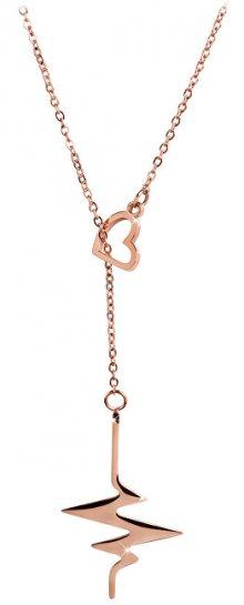 Troli růžově pozlacený náhrdelník Srdeční tep TO1966
