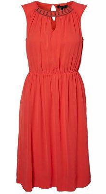Vero Moda Dámské šaty Wam SL Abk Dress Poppy Red L
