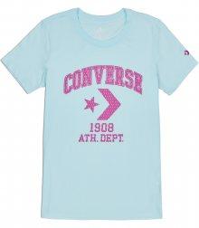 Converse tyrkysové tričko Star Chevron Remix s růžovým logem  - XS