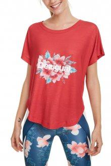 Desigual červené sportovní tričko TS Oversize Hindi Dancer s barevným logem - S